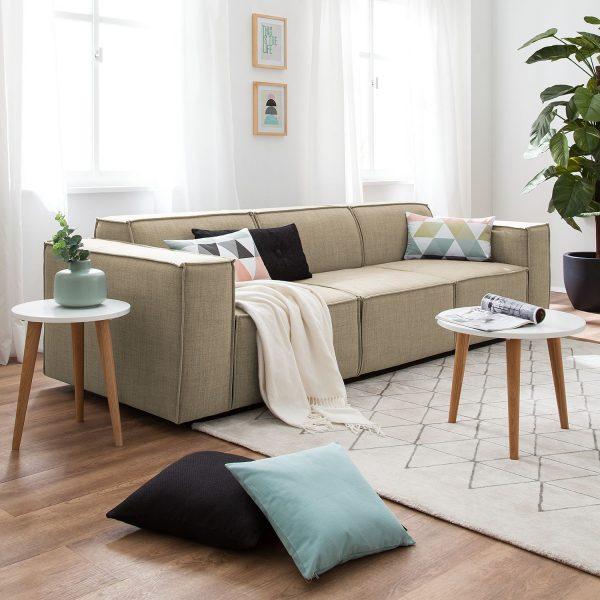 Sofa Kinx (3-Sitzer) Webstoff - Stoff Milan Beige