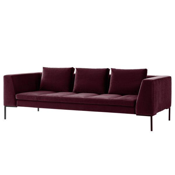 Sofa Madison (3-Sitzer) Samt - Stoff Shyla Aubergine