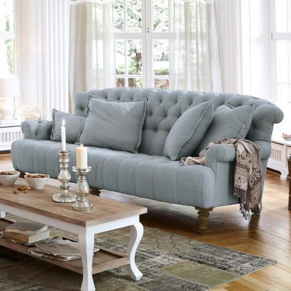Sofa Springfield Village graublau H/B/T ca. 95/218/114 cm
