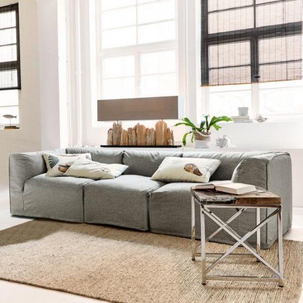Sofa Sutton hellgrau H/B/T ca. 67/225/95 cm
