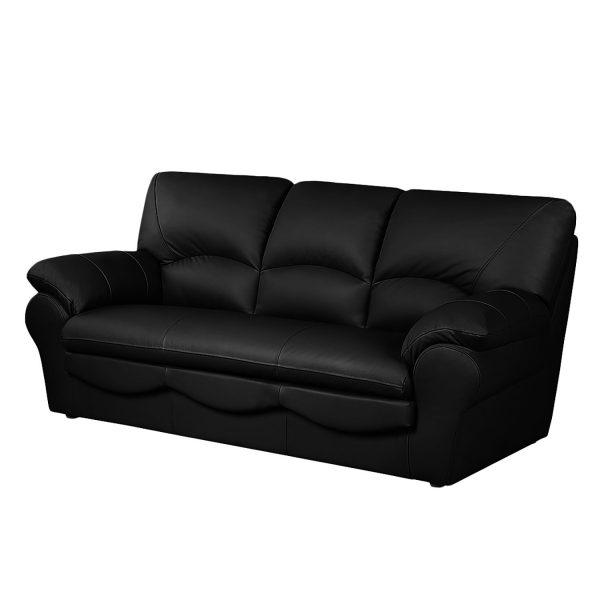 Sofa Torsby (3-Sitzer) - Kunstleder - Mit Schlaffunktion - Schwarz
