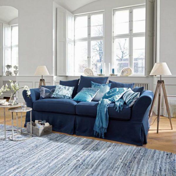 Sofa Worcester blau H/B/T ca. 78/225/85 cm