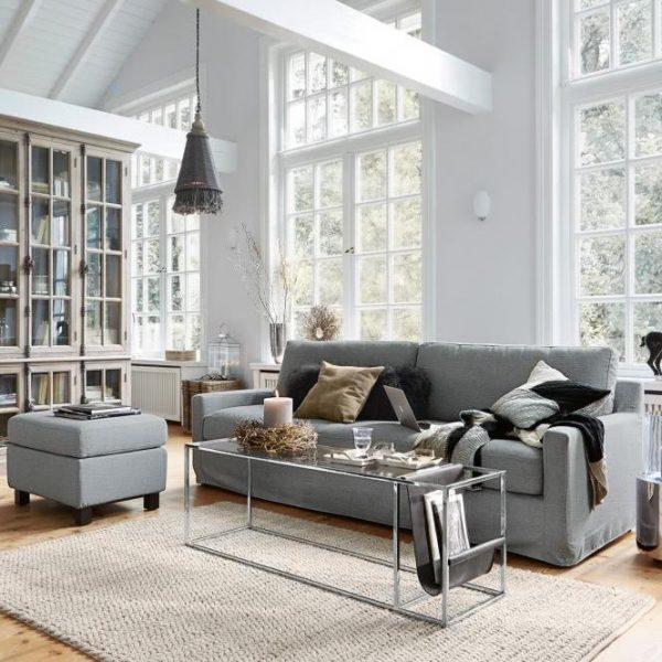 Sofa mit Hocker Burie grau H/B/T ca. 89/235/93 cm