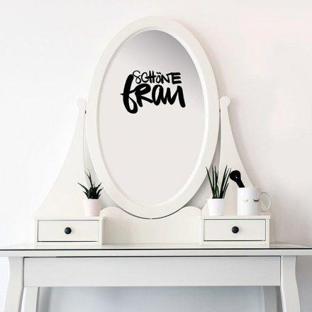 Spiegelaufkleber Schöne Frau schwarz Polyester
