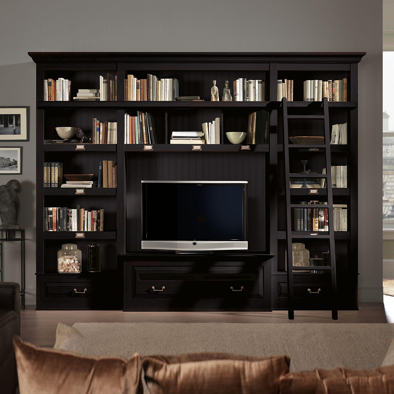 tv wand azjana i pinie teilmassiv schwarz mit leiter maison belfort online kaufen bei woonio. Black Bedroom Furniture Sets. Home Design Ideas