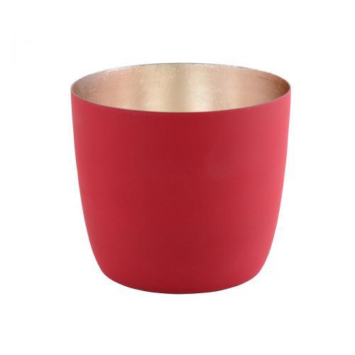 Teelichthalter Madras M rot matt/nudegoldrot / goldfarben