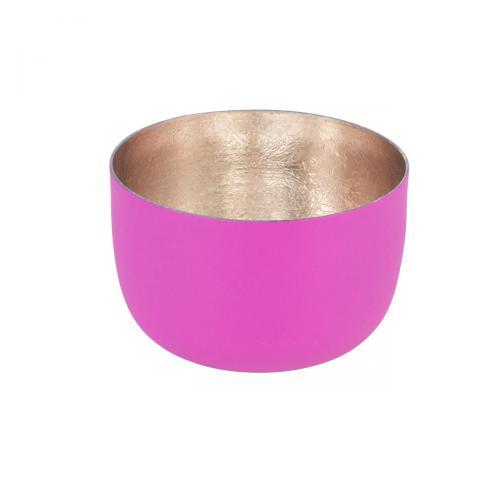 Teelichthalter Madras S fuchsia matt/roségoldfuchsia / goldfarben