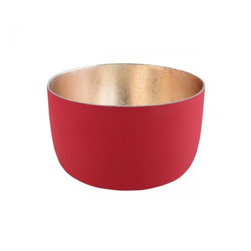 Teelichthalter Madras S rot matt/nudegoldrot / goldfarben