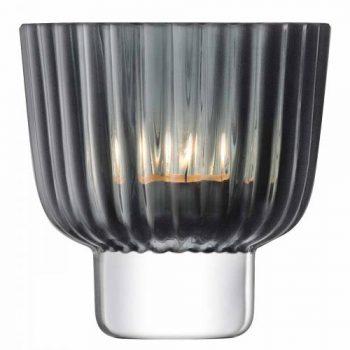 Teelichthalter Pleat H:9,5cm, Grau