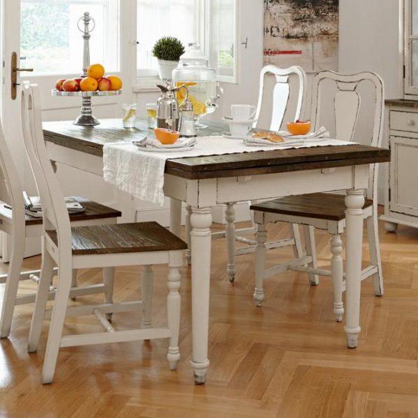 Tisch Bradford weiß/natur L/B/H ca. 160-240/90/78 cm