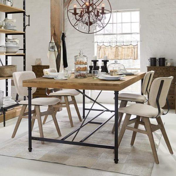 Tisch Drysdale antikbraun/schwarz H/B/T ca. 76/200/100 cm