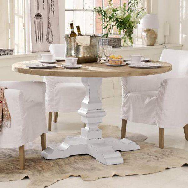 Tisch Sturbridge braun/weiß H/Ø ca. 78/140 cm