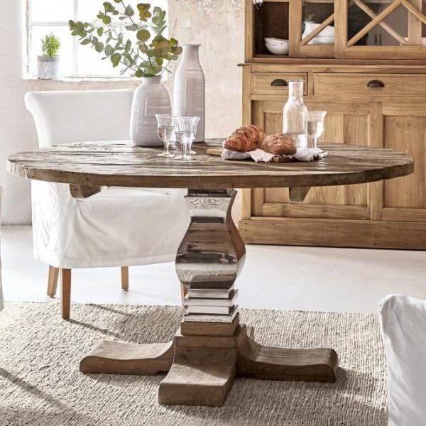 Tisch Vermilion braun/silber HxØ ca. 76x140 cm