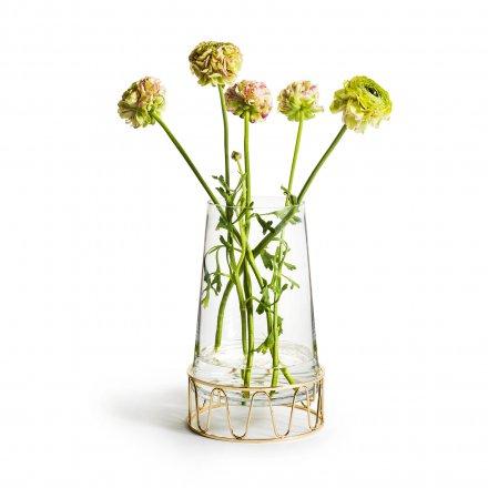 Vase Wavy mit Gestell transparent