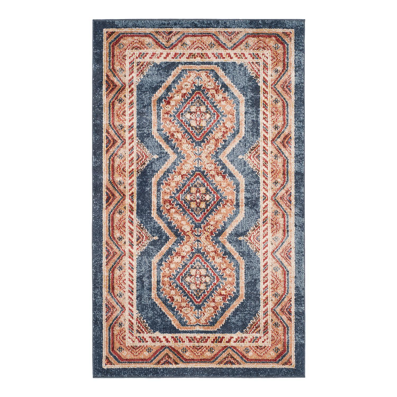 vintage teppich adalyn kunstfaser marineblau braun 121 x 182 cm safavieh online kaufen. Black Bedroom Furniture Sets. Home Design Ideas