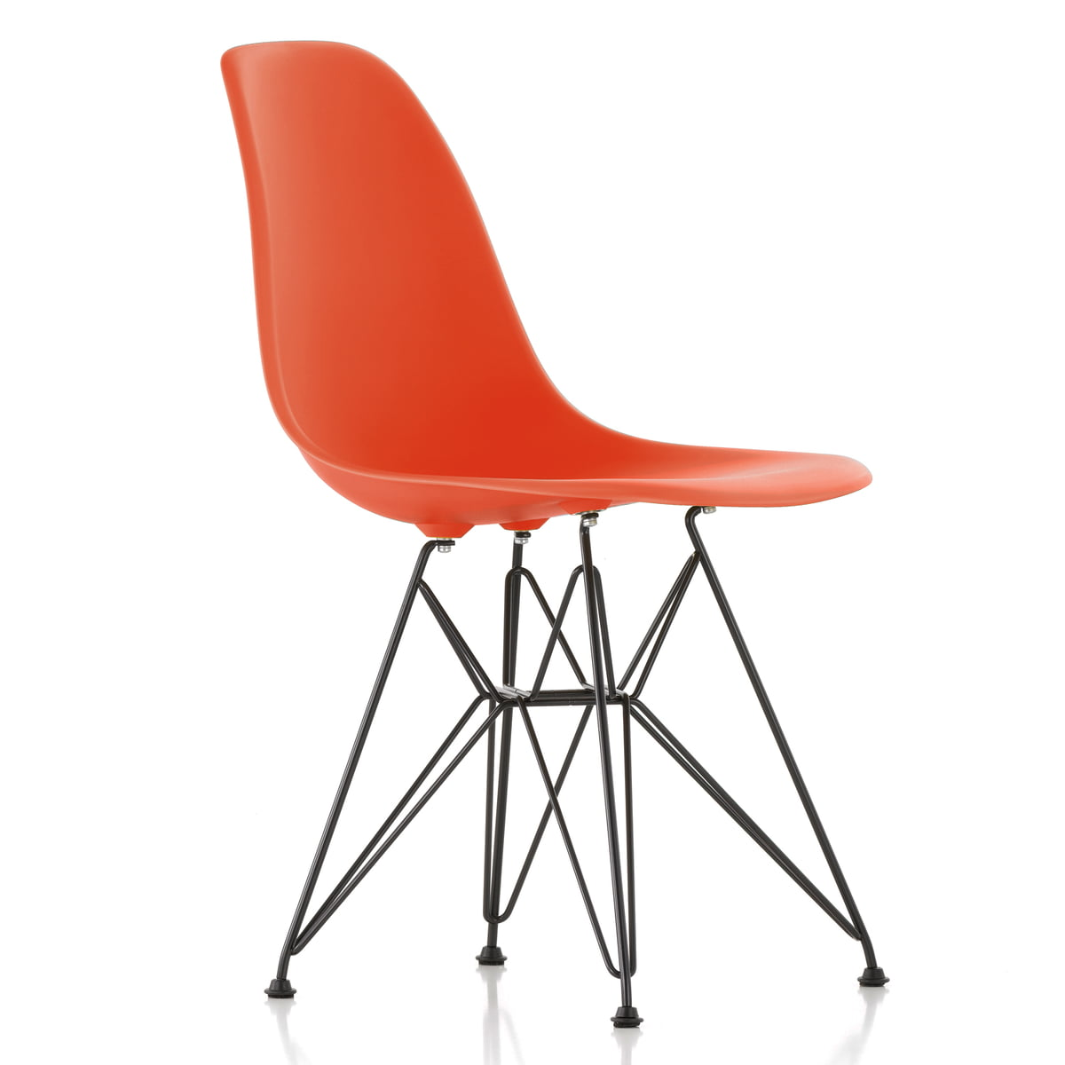 vitra eames plastic side chair dsr h 43 cm pulverbeschichtet poppy red kunststoffgleiter. Black Bedroom Furniture Sets. Home Design Ideas