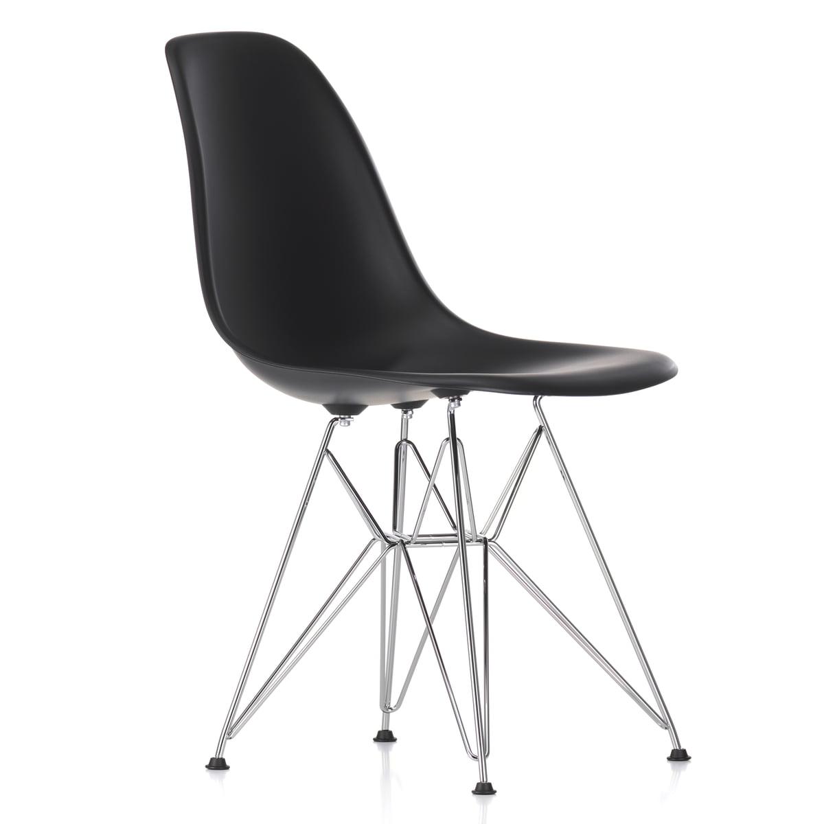 vitra eames plastic side chair dsr h 43 cm verchromt basic dark kunststoffgleiter basic. Black Bedroom Furniture Sets. Home Design Ideas