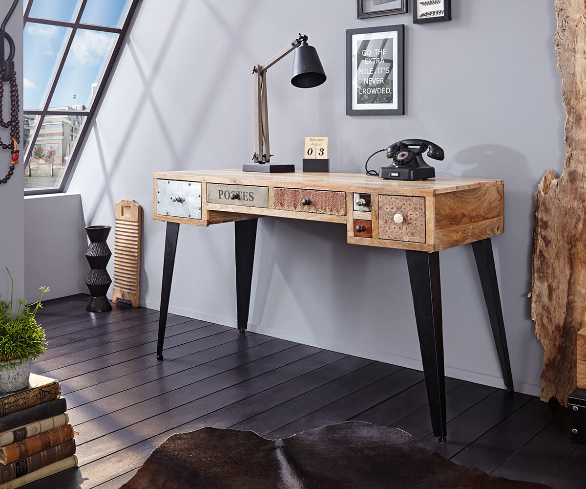 wolf m bel schreibtisch himalaya 130 cm mango natur 6. Black Bedroom Furniture Sets. Home Design Ideas