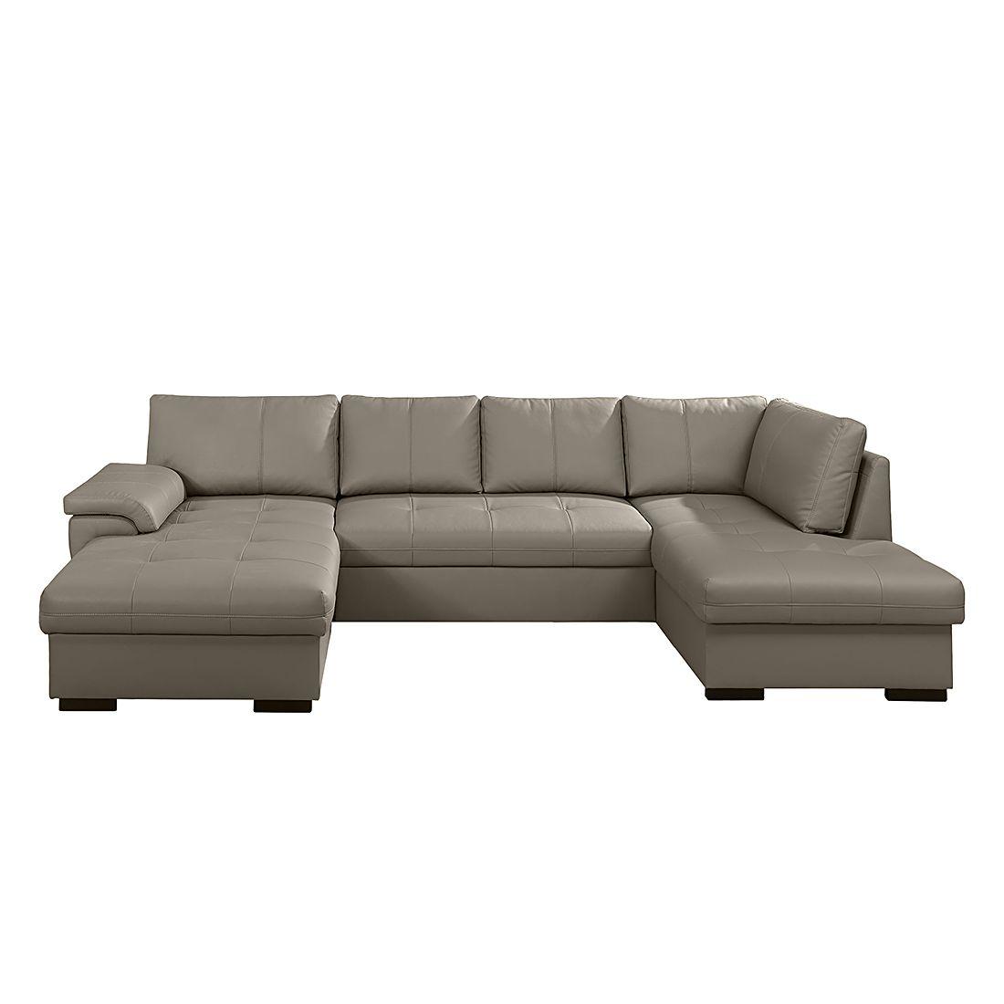 wohnlandschaft cuenca mit schlaffunktion kunstleder taupe ottomane davorstehend rechts. Black Bedroom Furniture Sets. Home Design Ideas
