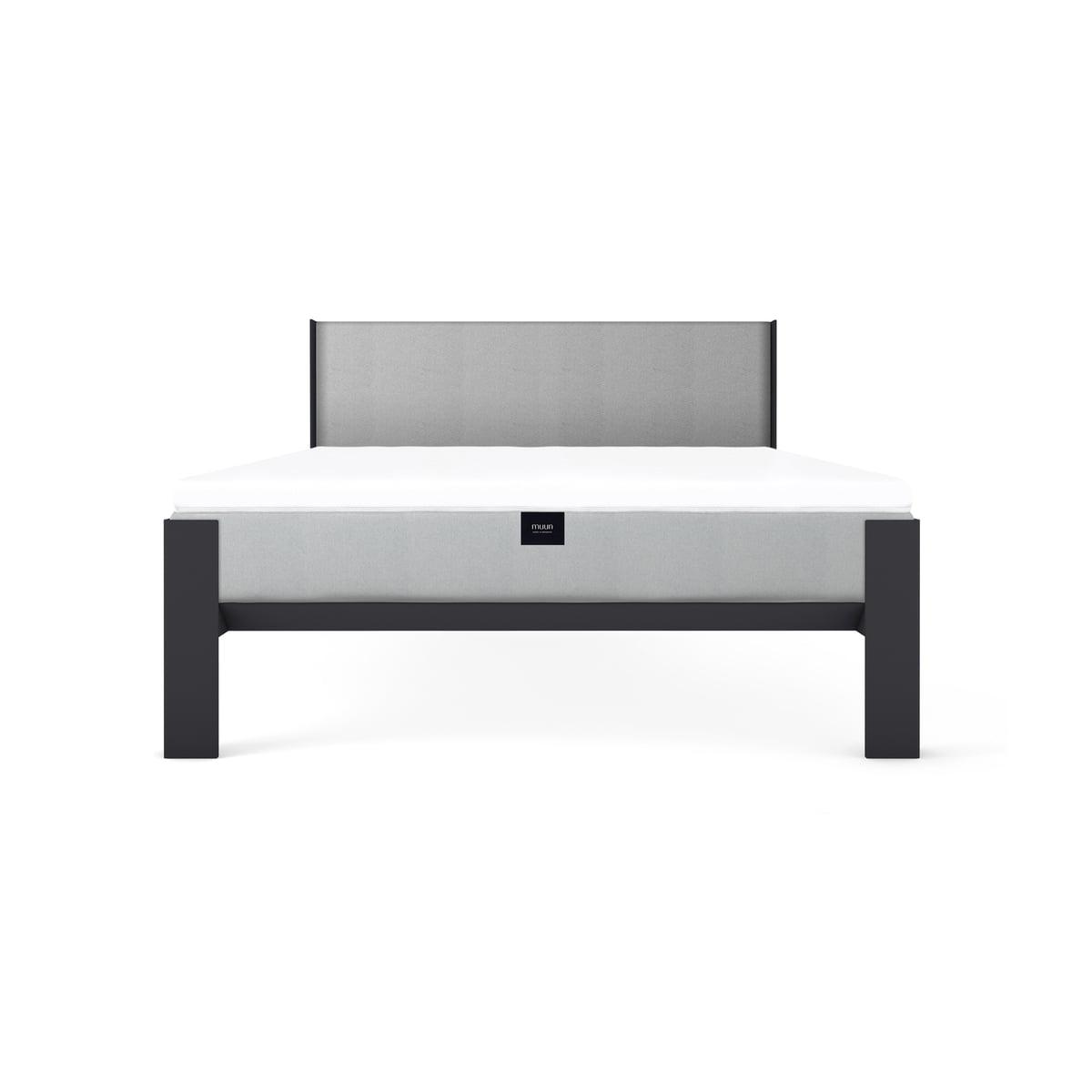 muun bett mit kopfteil 140 x 200 cm anthrazit grau. Black Bedroom Furniture Sets. Home Design Ideas