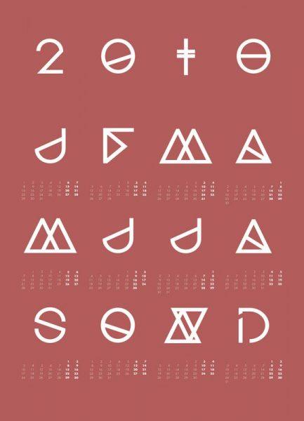 2018 Geometrical Calendar Marsala Leinwandbild