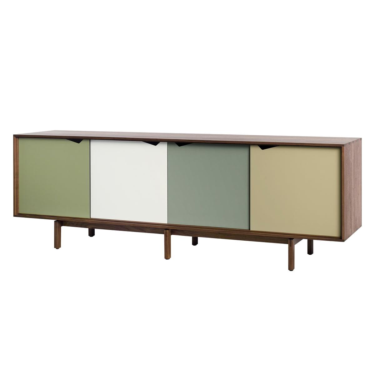 andersen furniture s1 sideboard walnuss ge lt t ren pale olive blassgr n alpino wei. Black Bedroom Furniture Sets. Home Design Ideas