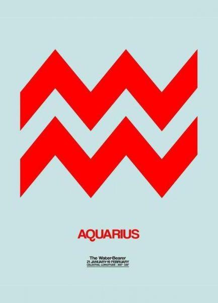 Aquarius Zodiac Sign Red Leinwandbild