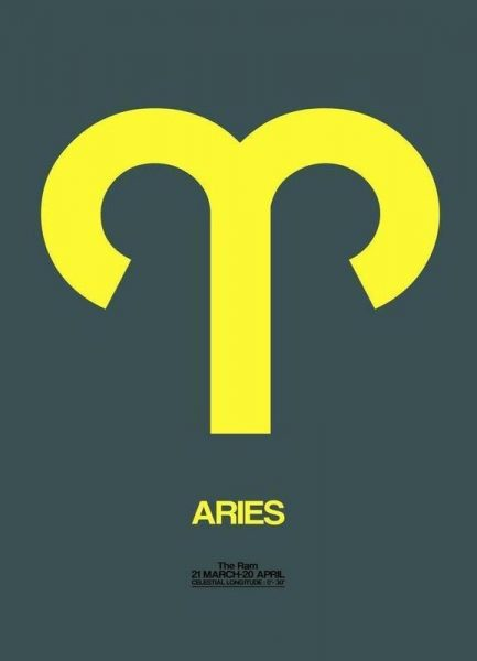 Aries Zodiac Sign Yellow Leinwandbild