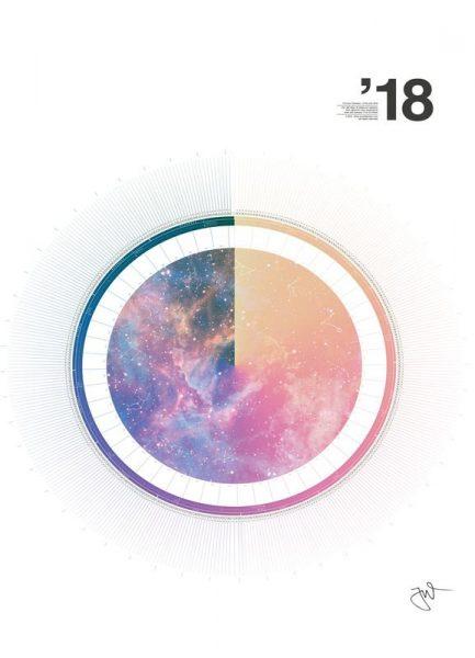 Astronomical Calendar 2018 Leinwandbild