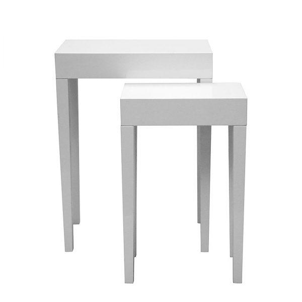 Beistelltisch-Set Gleamy (2-teilig) - Paulownia teilmassiv - Hochglanz Weiß