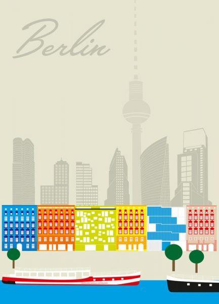Berlin Skyline Leinwandbild