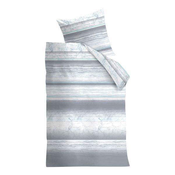 Bettwäsche Gerona - Baumwollstoff - Grau - 135 x 200 cm + Kissen 80 x 80 cm