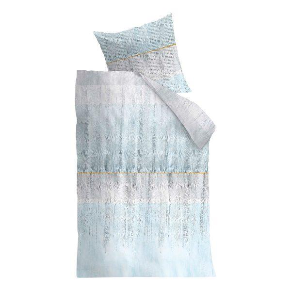 Bettwäsche Libby - Baumwollstoff - Hellblau / Grau - 135 x 200 cm + Kissen 80 x 80 cm
