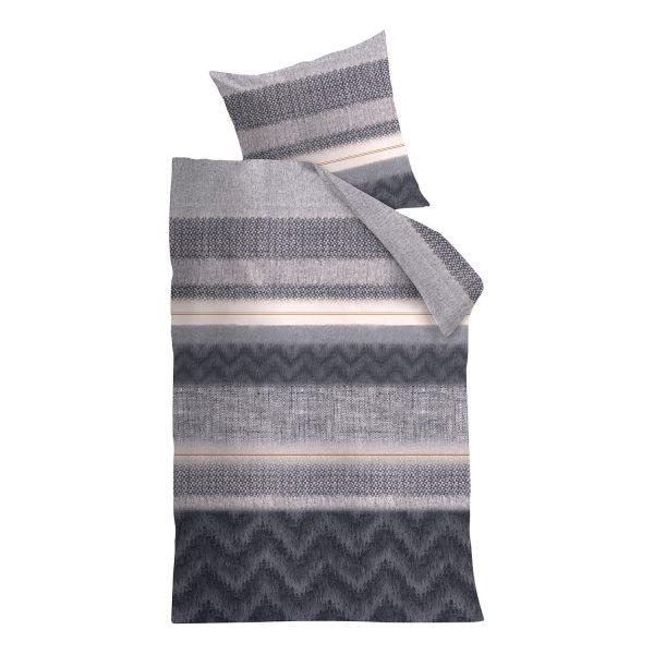 Bettwäsche Moonlight - Baumwollstoff - Grau - 135 x 200 cm + Kissen 80 x 80 cm