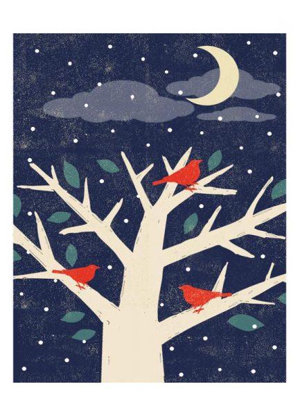 Birds at Night Leinwandbild