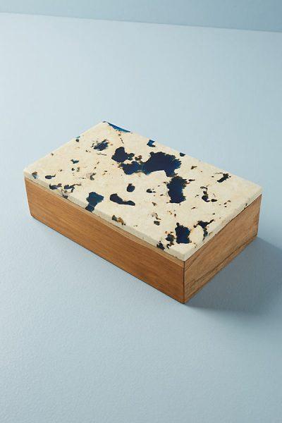 Box aus Teakholz mit marmoriertem Design - Blue44344463EU