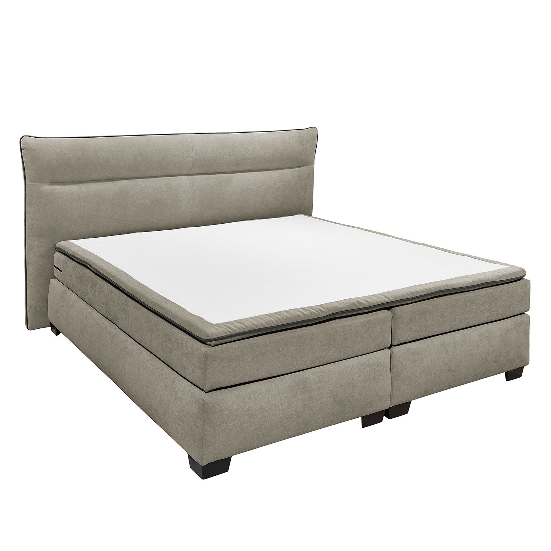 boxspringbett dadin inkl topper webstoff sandgrau 180 x 200cm kaltschaumtopper. Black Bedroom Furniture Sets. Home Design Ideas