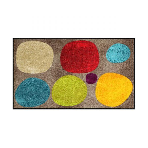 Broken Dots Sauberlaufmatte und Badteppich 120x75 braun-bunt
