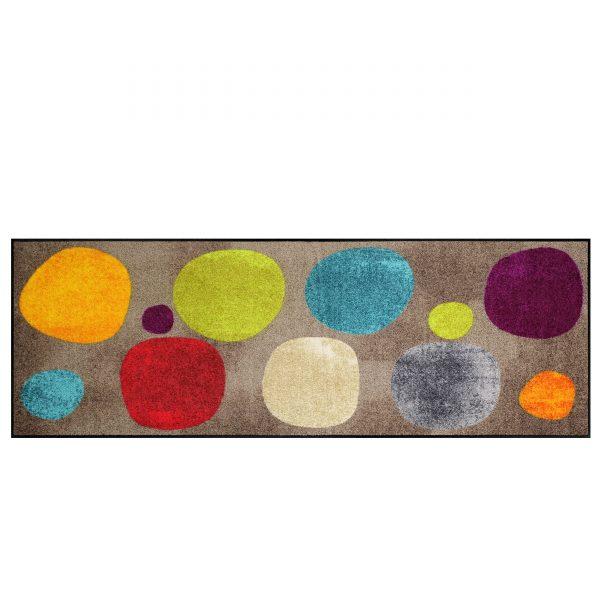 Broken Dots Sauberlaufmatte und Badteppich 180x60 braun-bunt