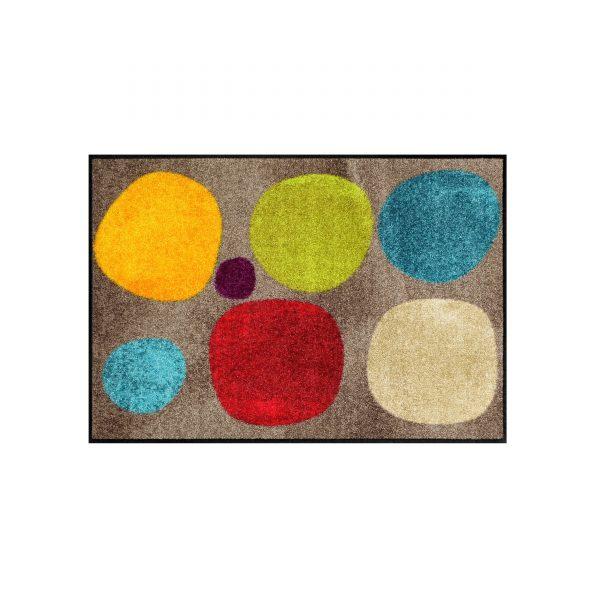 Broken Dots Sauberlaufmatte und Badteppich 75x50 braun-bunt