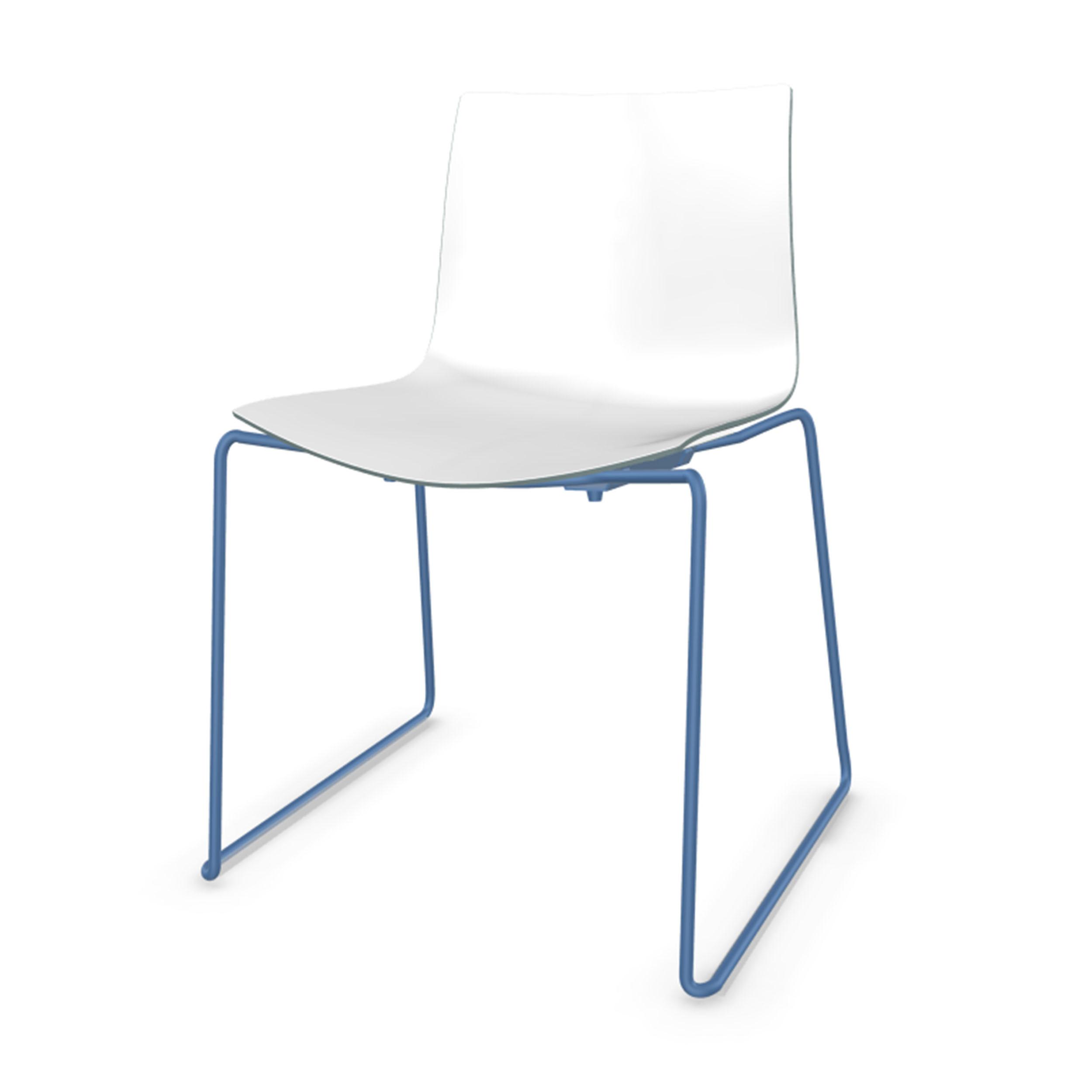 Catifa 46 Stuhl Mit Kufen Zweifarbig Gestell Petrolblau