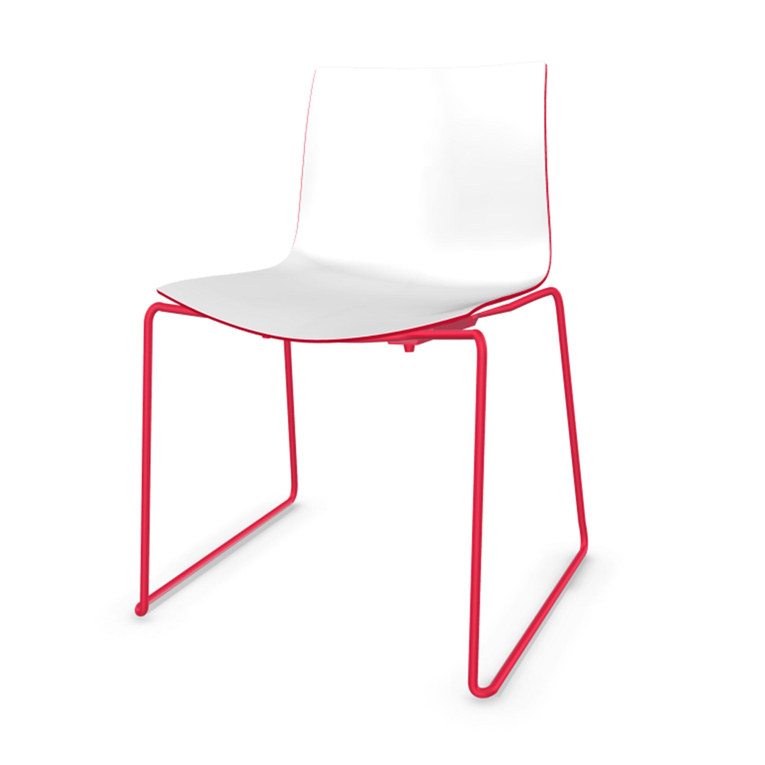 Catifa 46 Stuhl Mit Kufen Zweifarbig Gestell Rot Wei Rot
