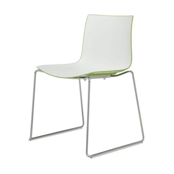 Catifa 46 Stuhl mit Kufen zweifarbig weiß/grün