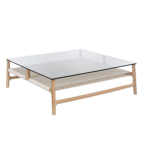 Couchtisch Fawn - Glas / Eiche massiv - Eiche Hell / Grau - 90 x 90 cm