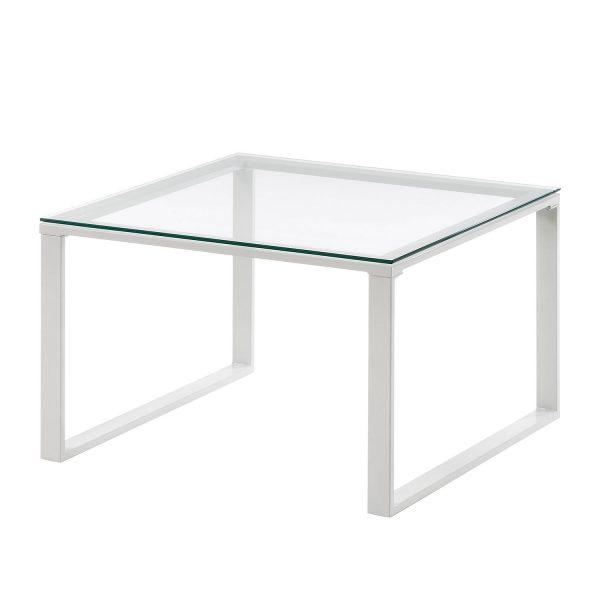 Couchtisch Montalto - Glas / Stahl - Weiß