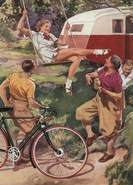 Cycling Caravan Leinwandbild