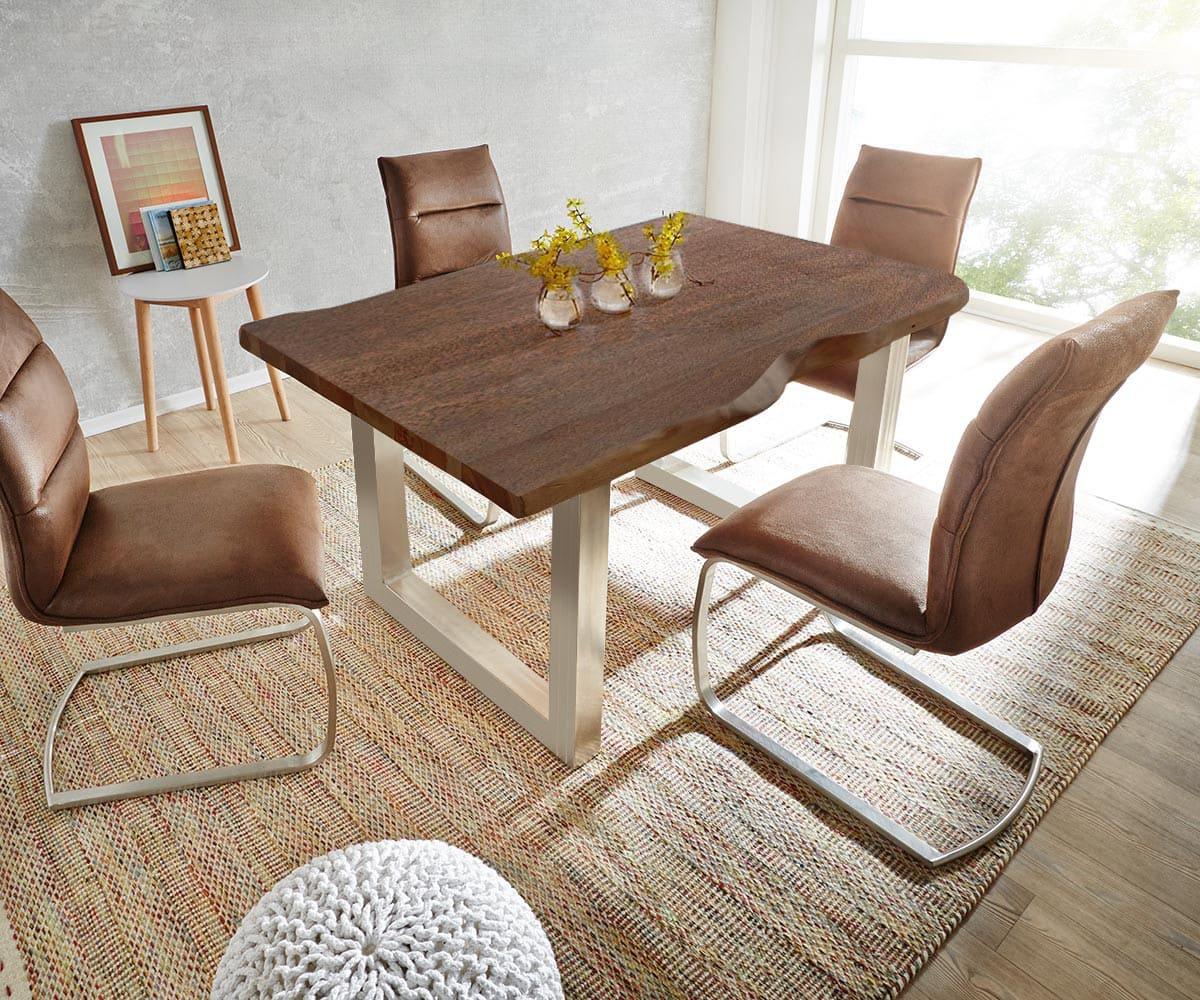delife baumtisch live edge 140x90 akazie braun platte 3 5cm gestell breit esstische. Black Bedroom Furniture Sets. Home Design Ideas