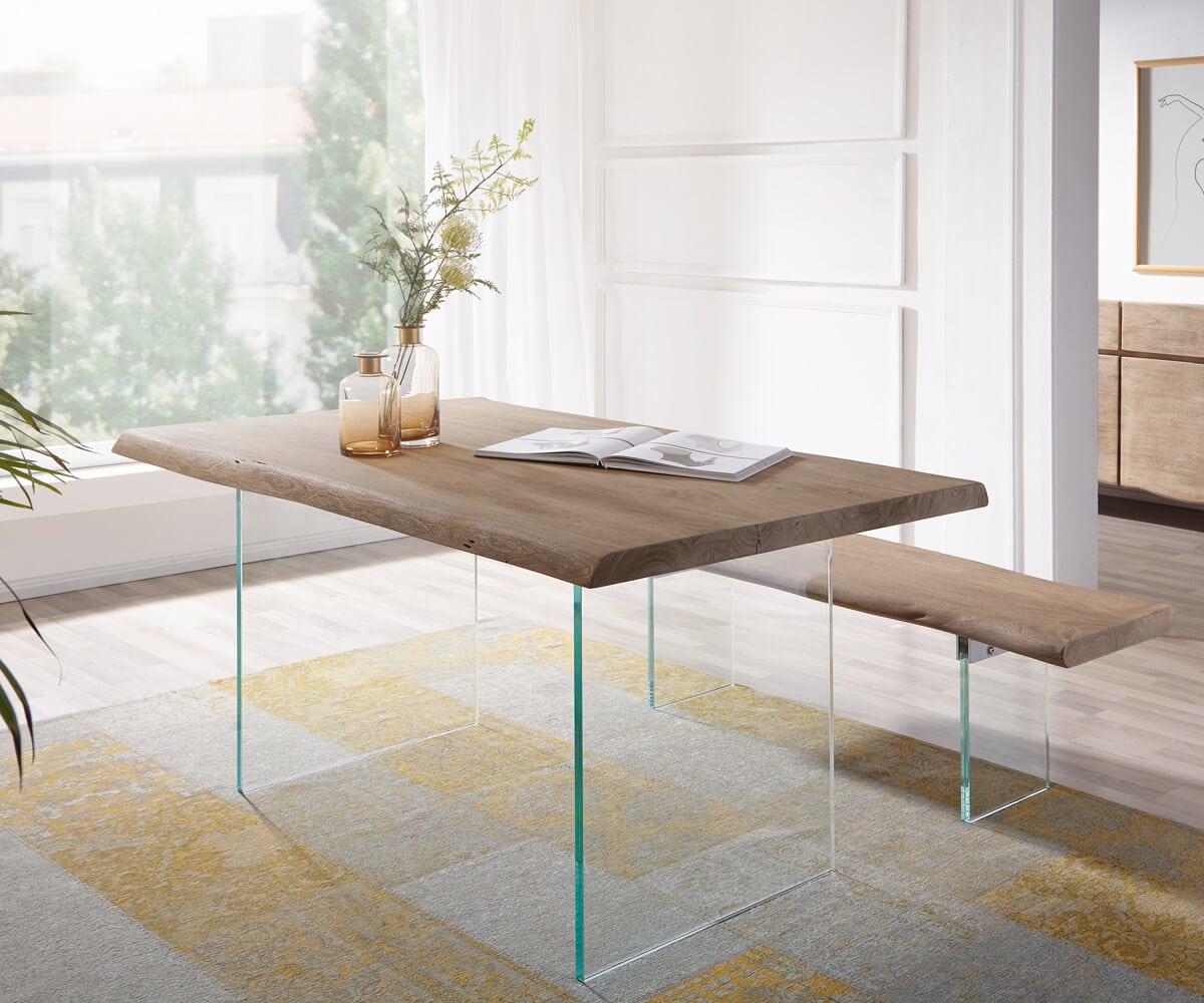 delife baumtisch live edge 140x90 akazie champagner platte. Black Bedroom Furniture Sets. Home Design Ideas