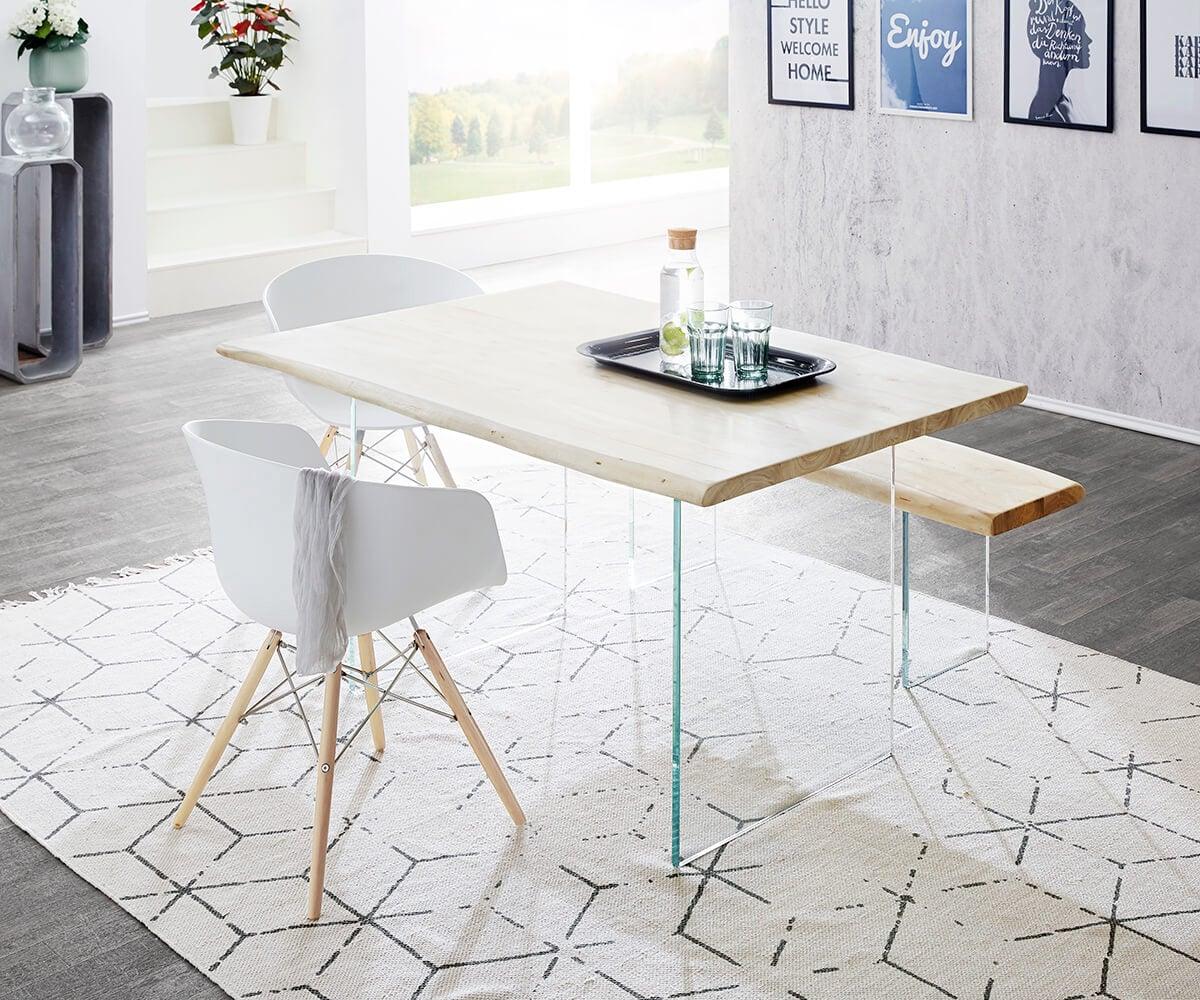 delife baumtisch live edge 140x90 akazie gebleicht platte 3 5 cm glasbeine esstische. Black Bedroom Furniture Sets. Home Design Ideas