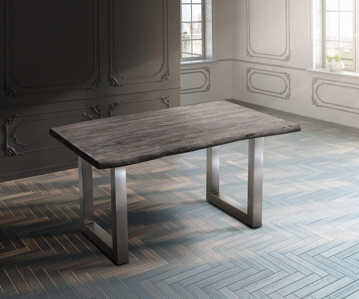delife baumtisch live edge 140x90 akazie platin platte 5cm gestell breit esstische. Black Bedroom Furniture Sets. Home Design Ideas